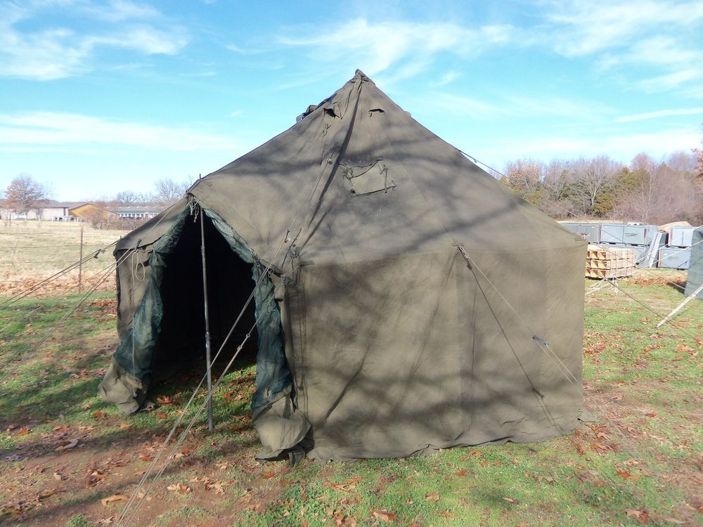MILITARY TENT GP SMALL HUNTING ARMY SURPLUS 17x17 NO POLES REGULAR CANVAS : military tent surplus - memphite.com