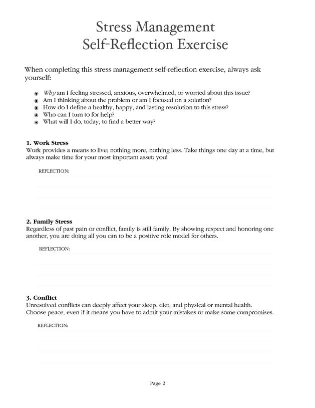 Stress Management Worksheet - PDF