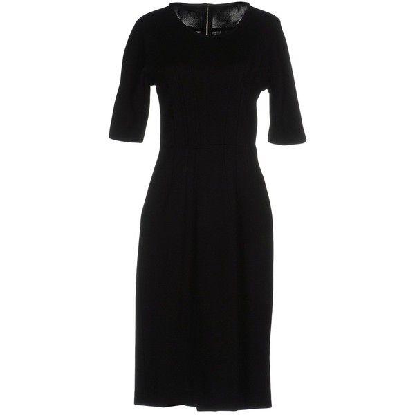 black dress knee length sheath short sleeves