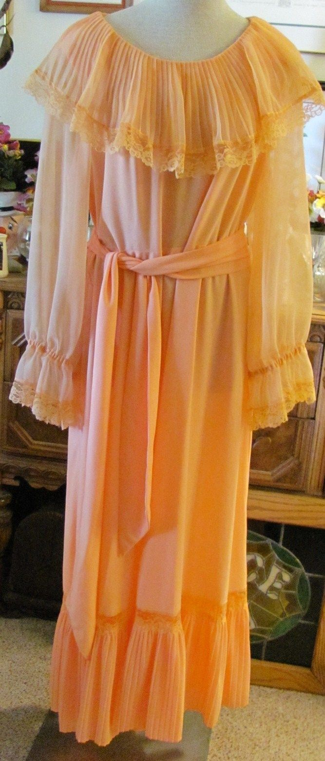 Vintage us hippie boho peach chioffon lace formal prom gilberti