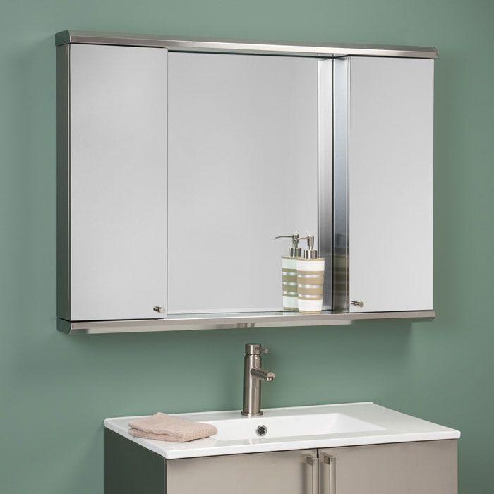 Wood Medicine Cabinet With Mirror And Black Bathroom