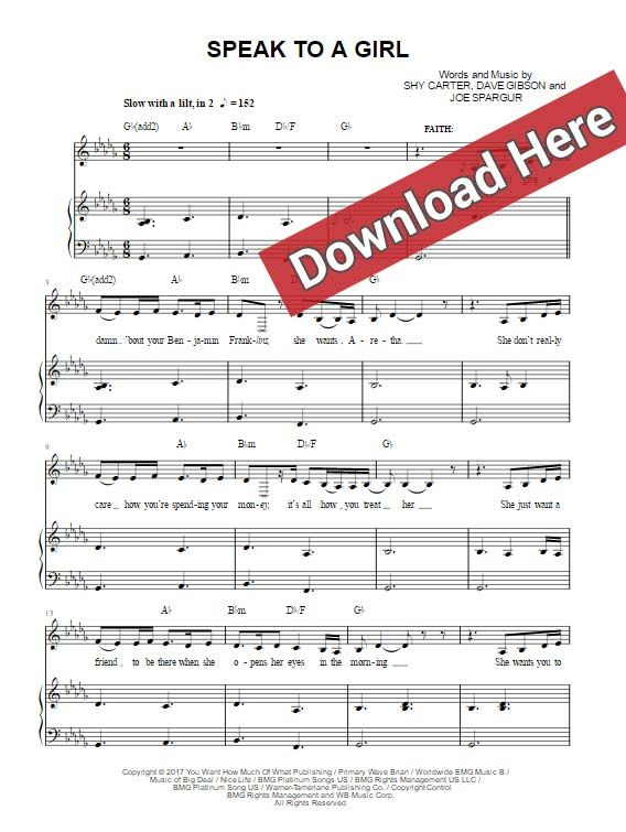 Tim Mcgraw Speak To A Girl Sheet Music Piano Notes Chords Ft