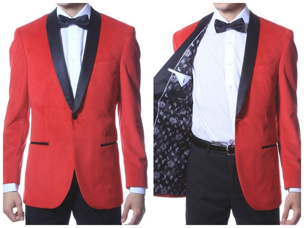 Velvet Highlight Blazer Enzo, Satin Shawl Collar, slim fit Red 1 ...