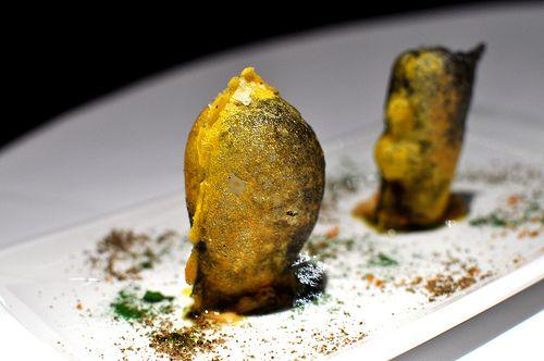 Cromlech - were crispy and hollow, with a filling of foie gras. Restaurante Arzak - San Sebastian, Spain.