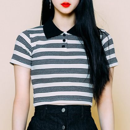495ba28766e Striped Cropped Polo Shirt | mixxmix | Shop Korean fashion casual style  clothing, bag, shoes, acc and jewelry for all
