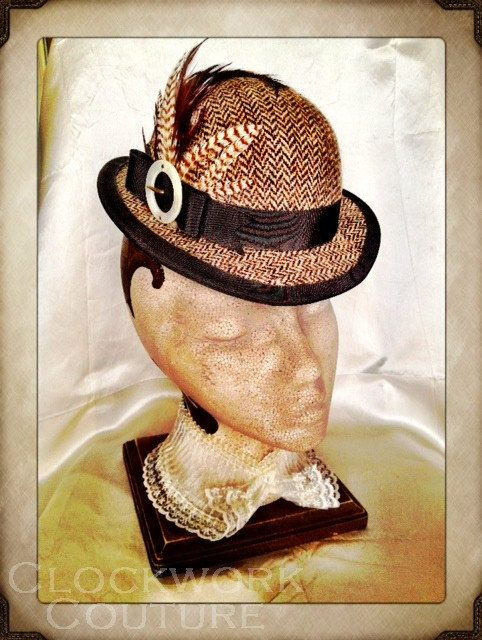Baker Street Bowler - Ladies Mini Bowler Topper Brown Tweed Feathers Vintage Trim. $189.95, via Etsy.