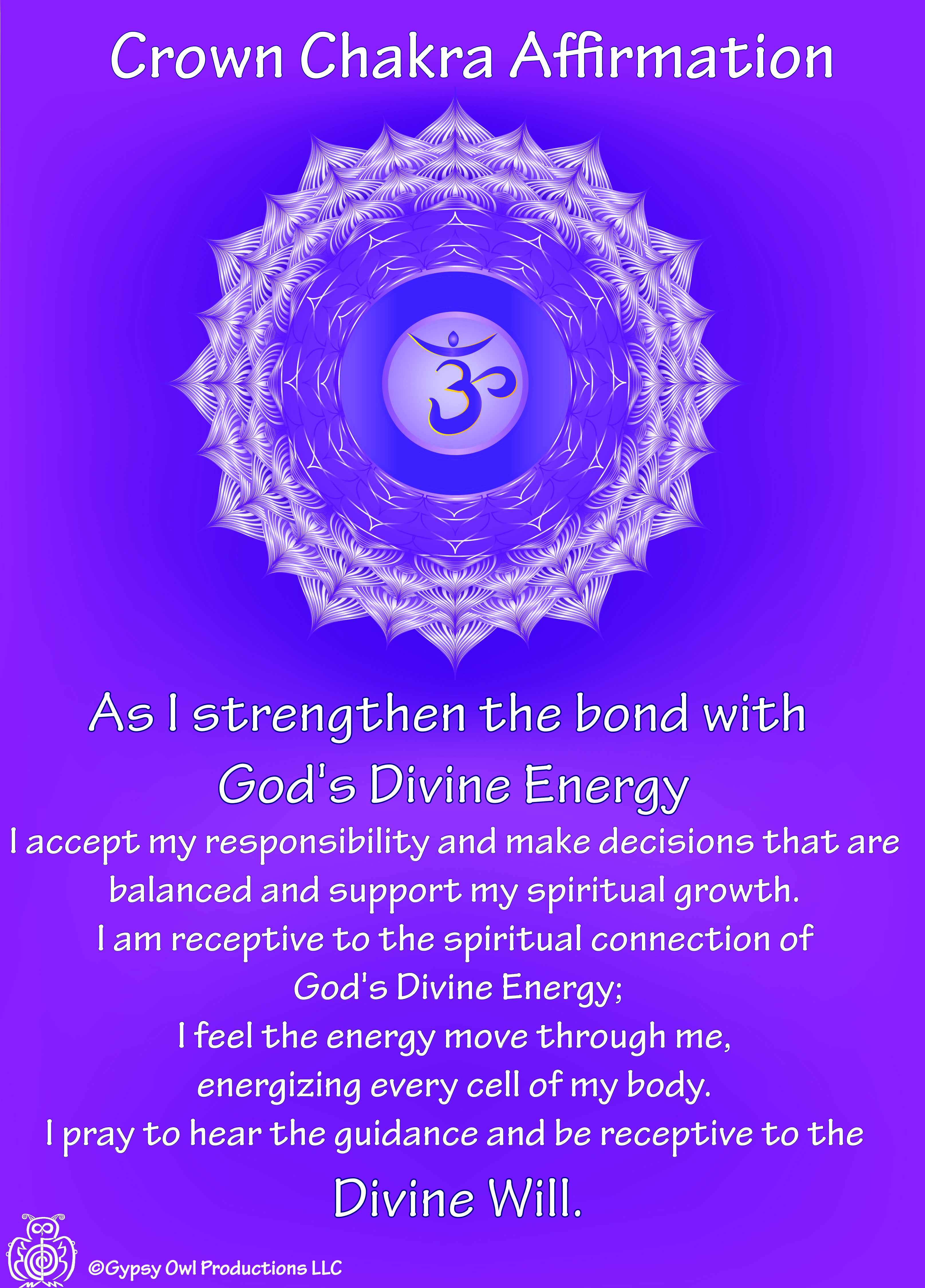 Pin by Gypsy Owl Productions, LLC on Chakra Affirmation