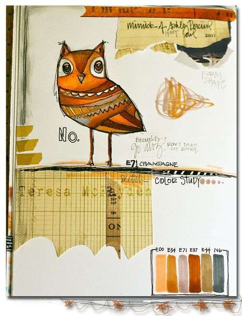 Art Journal page by Teresa McFayden. Owl was inspired by an illustration by Ashley Percival