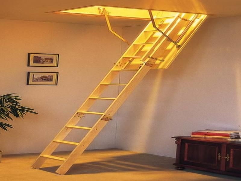Wooden Ladder Attic Folding Parts