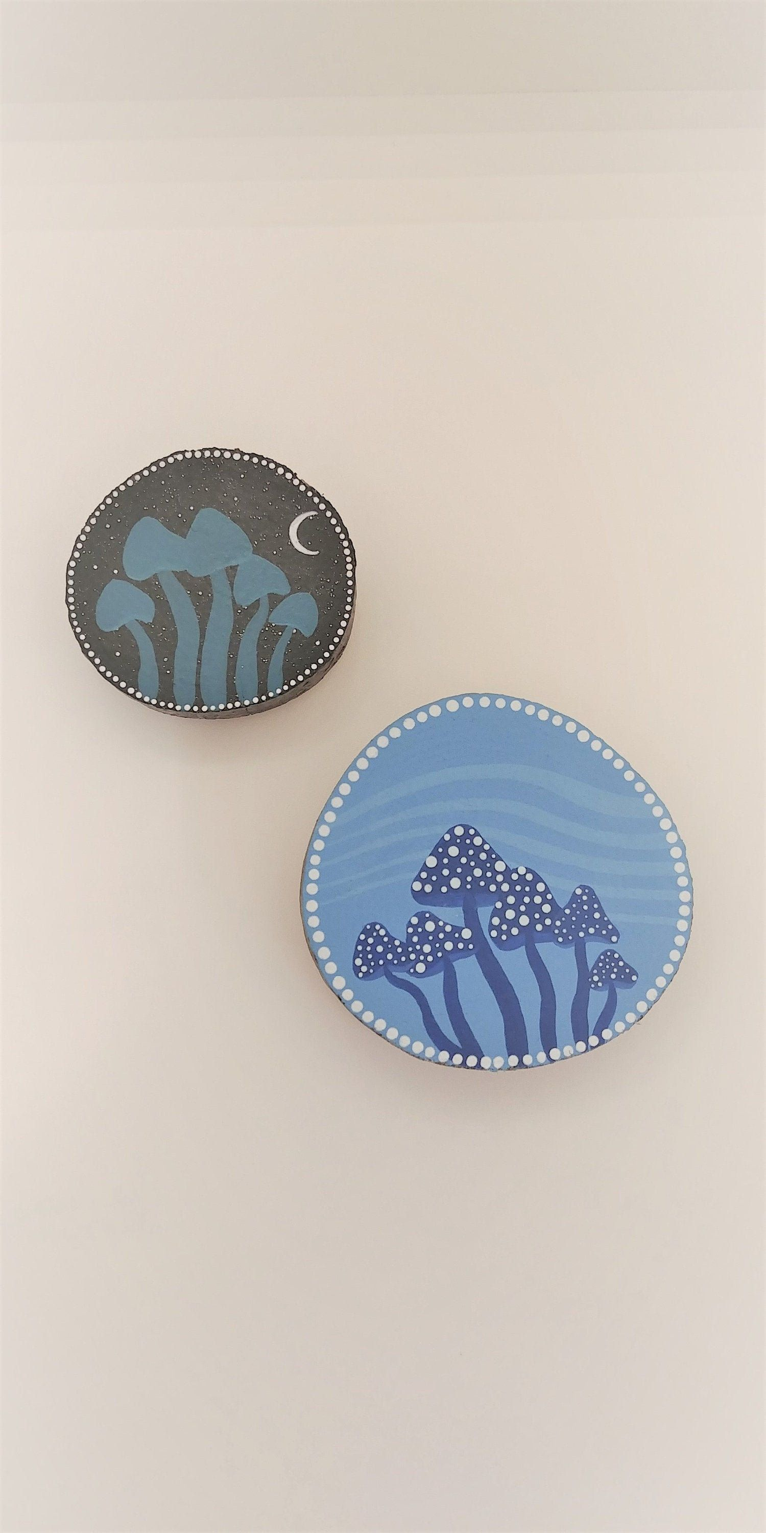 Mushroom and Mouse Hand-painted Wooden Magnet Set