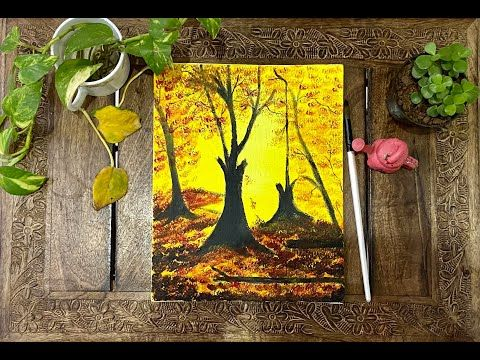 Step by Step Autumn Scenery Painting - Acrylic #autumnscenery