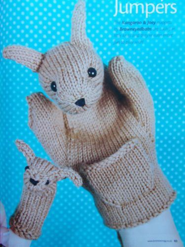 Knitting Pattern Cute Kangaroo Hand Puppet With Baby Joey Finger
