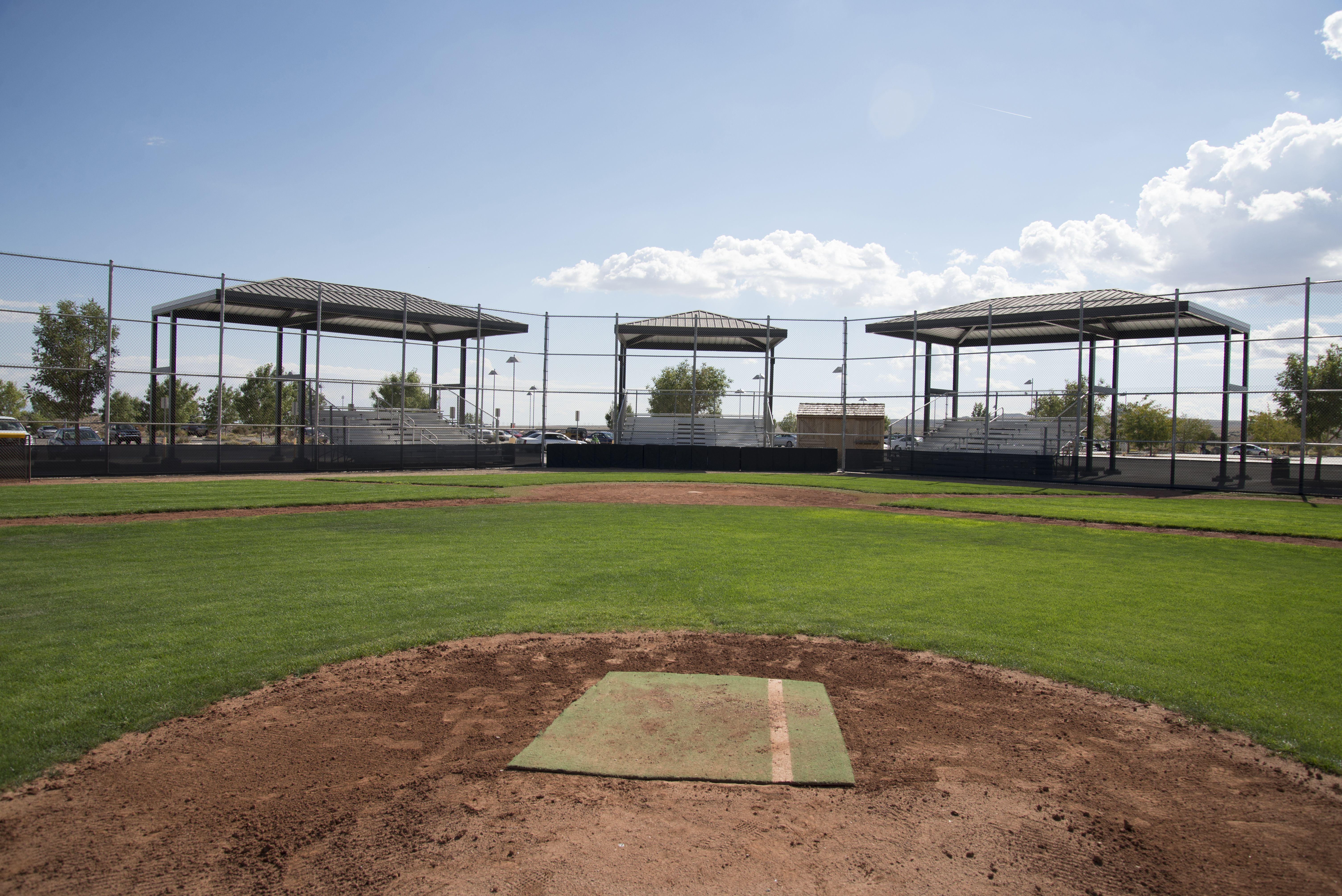 Bleacher Shade By Superior Recreational Products Volcano Vista High School S Baseball Fields Vista High School High School Baseball High School