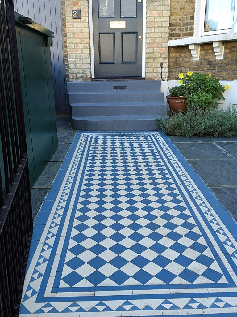 Blue and white victorian mosaic tile path slate paving yellow brick blue and white victorian mosaic tile path slate paving yellow brick garden wall metal rail and dailygadgetfo Choice Image