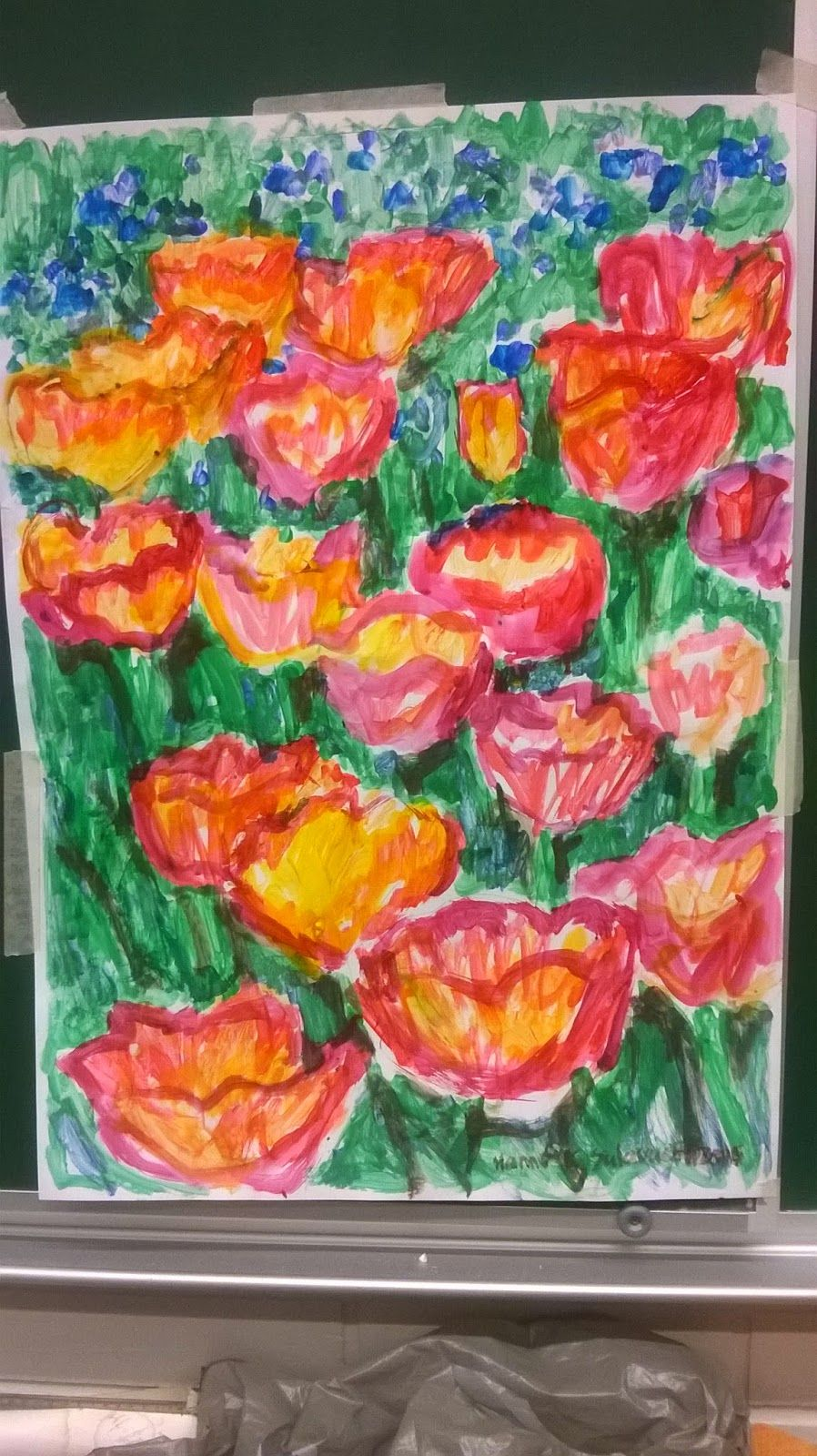 painted with tempera colors