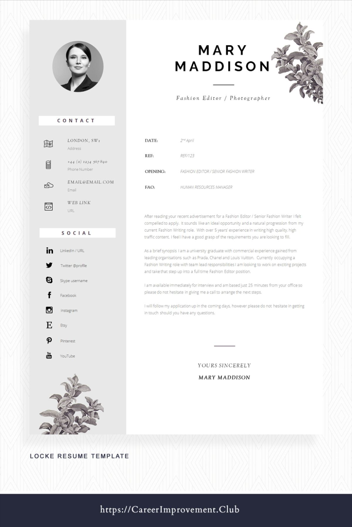 Professional Cv Design For Word Cover Letter Resume Advice Instant Download Mac Or Pc Resume Design Locke Cv Design Cv Design Professional Cv Template Professional