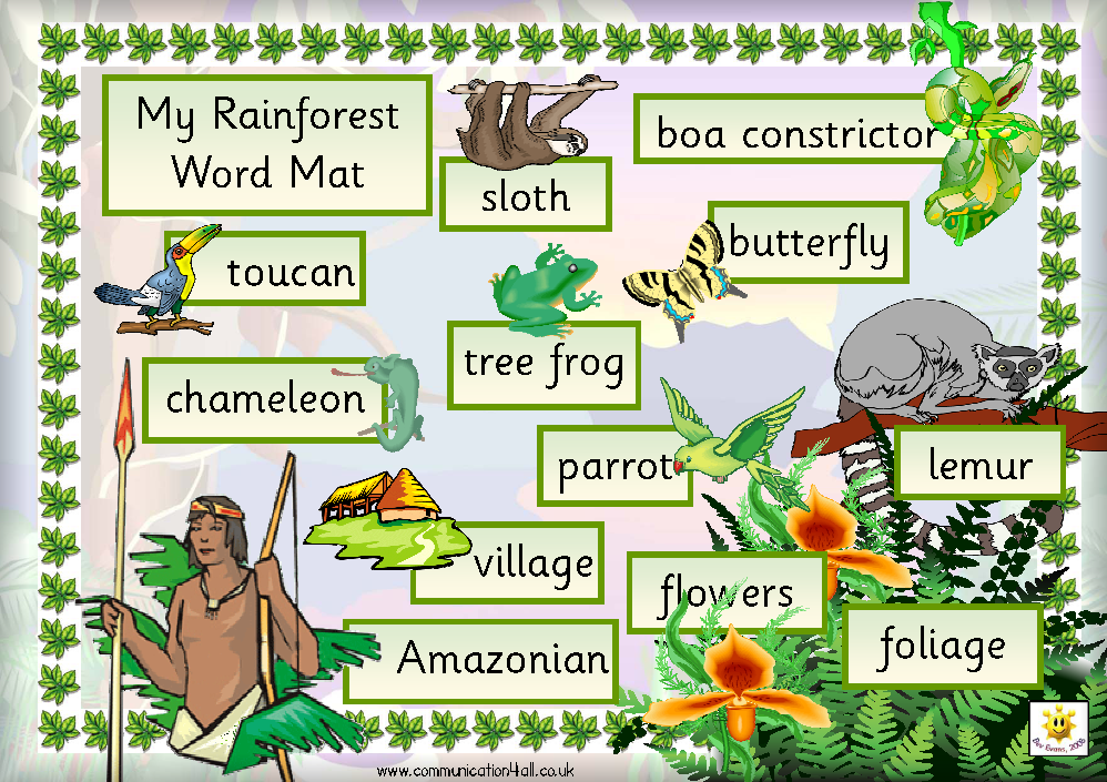 FREE printable Rainforest Word Mat (also makes a great