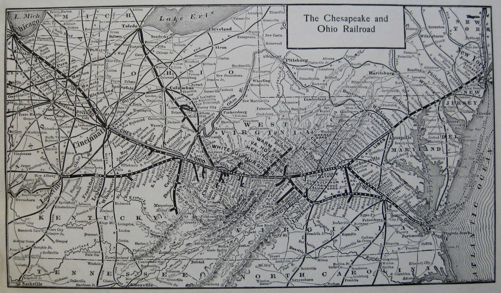1914 Antique CHESAPEAKE & OHIO RAILROAD Map Vintage C & O RAILWAY Map