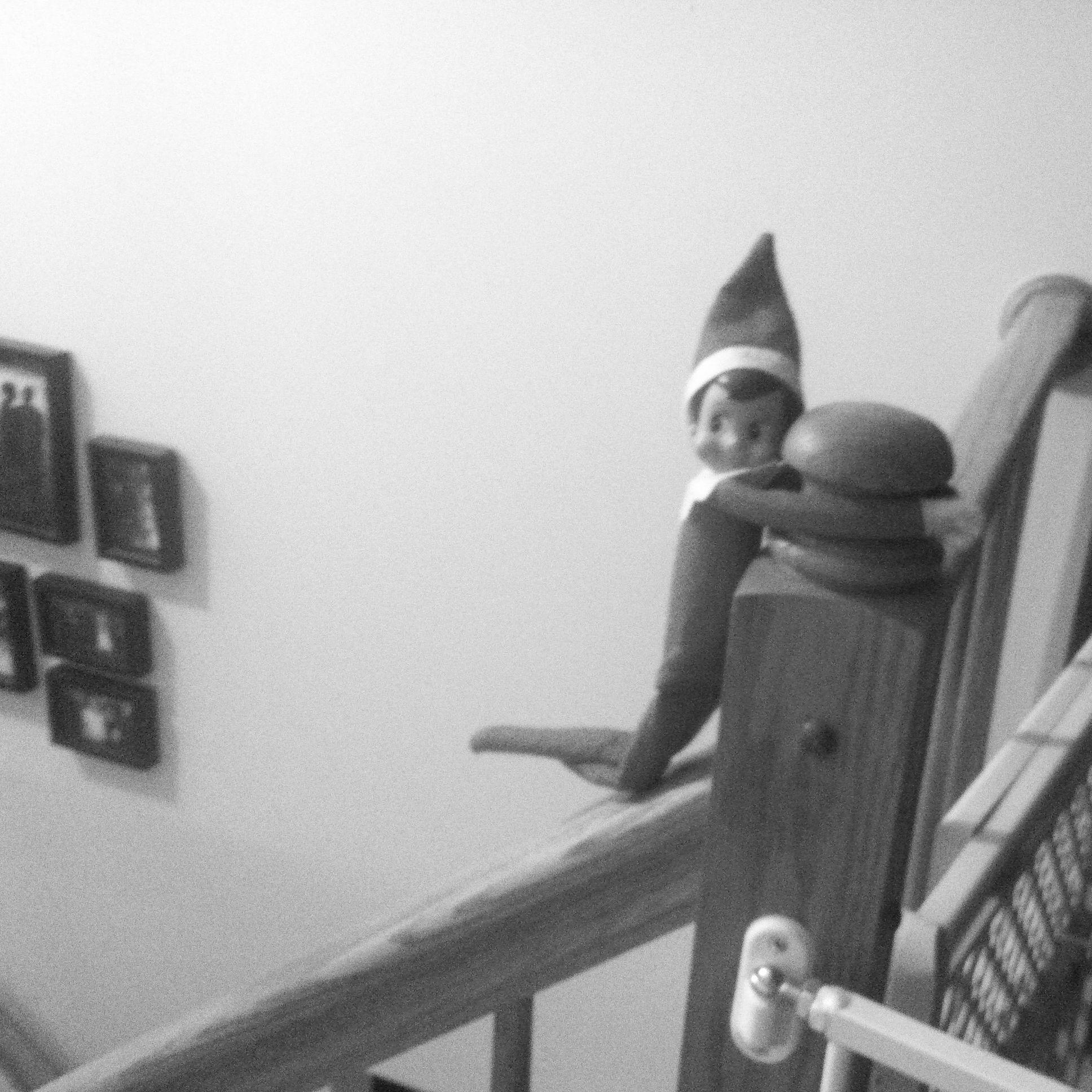 Elf On A Shelf Day Fifteen...sliding Down The Banister