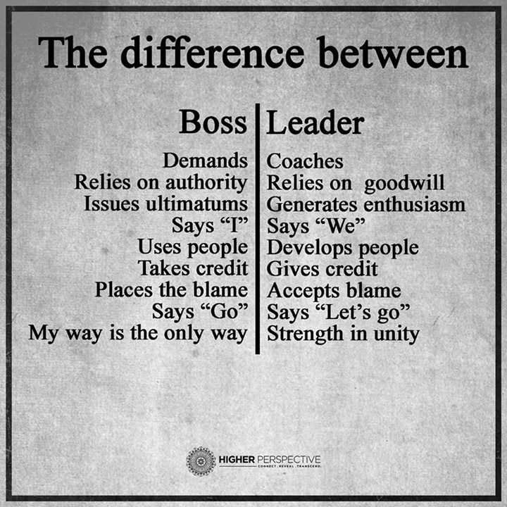Boss Vs Leader Leader Quotes Leadership Quotes Work Quotes