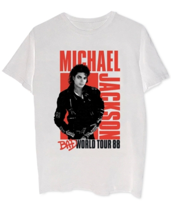 a67f17ed3 Michael Jackson Bad World Tour Men's Graphic T-Shirt - White L ...