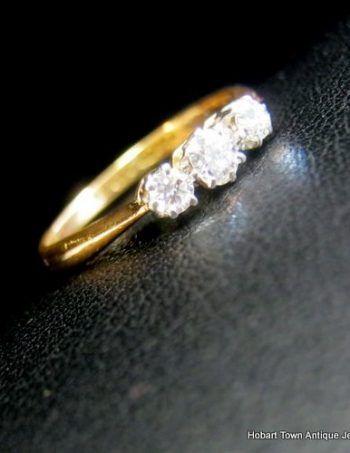Victorian Diamond Trilogy Antique Engagement Ring 22ct Gold UK c1868
