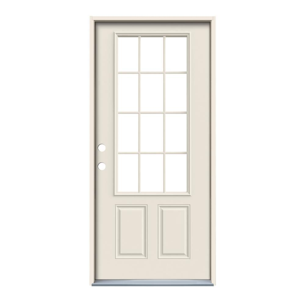 Jeld Wen 36 In X 80 In 12 Lite Primed Steel Prehung Right Hand Inswing Back Door Thdjw190900028 The Home Depot Jeld Wen Steel Doors Exterior Steel Doors