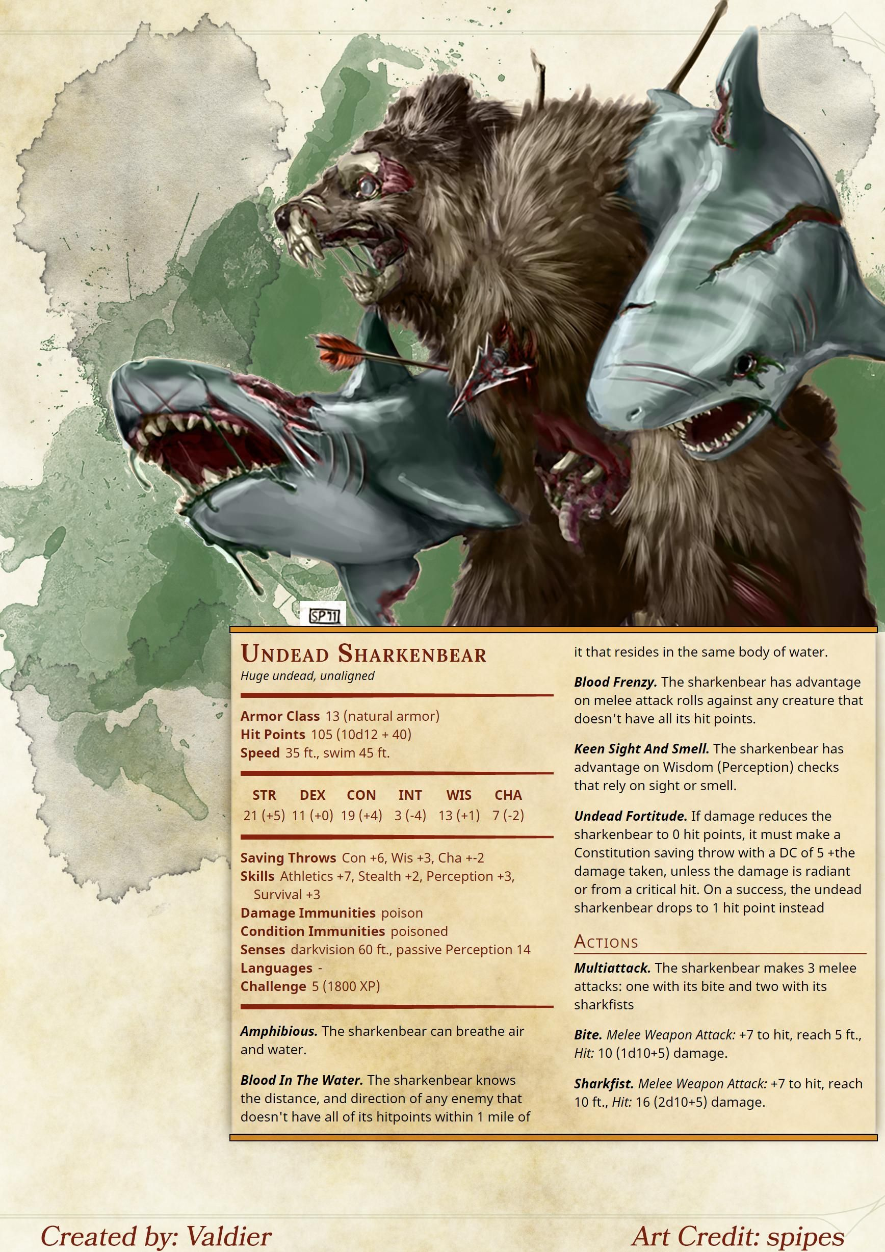 [Homebrew] Undead Sharkenbear Dungeons and dragons