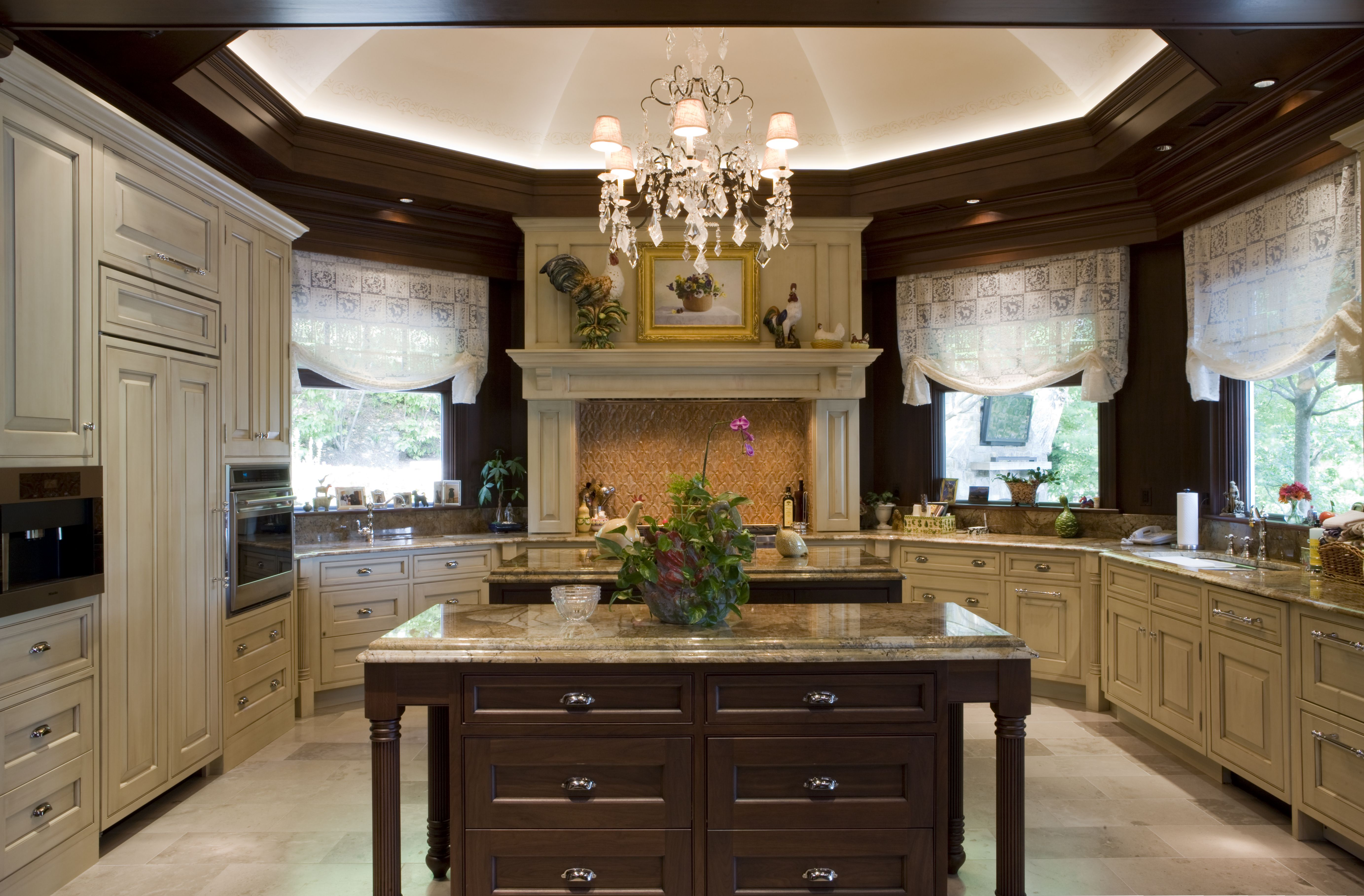 traditional kitchen beautiful large kitchen with two islands and drawers that open both ways on kitchen interior luxury id=33048