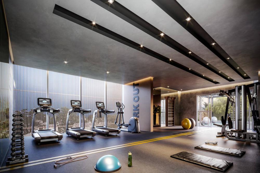 Design Bela Vista 3 E 2 Suites Com Living Ampliado Dubai Empreendimentos Fitnesscenter Gym Architecture Gym Design Interior Gym Interior