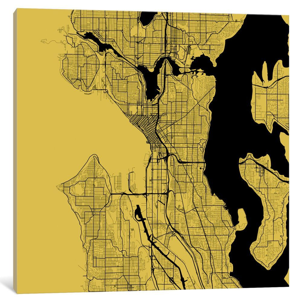 Seattle Urban Roadway Map\' by Urbanmap Graphic Art on Wrapped Canvas ...
