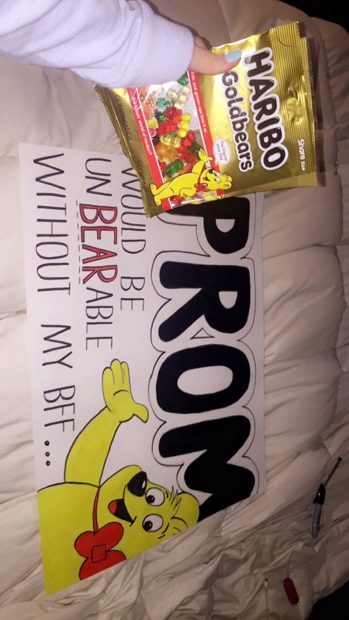 my friends favorite candy is gummy bears and we're trying to make her boyfriend jealous so gummy bear promposal it is #prompictures #hocoproposalsideas
