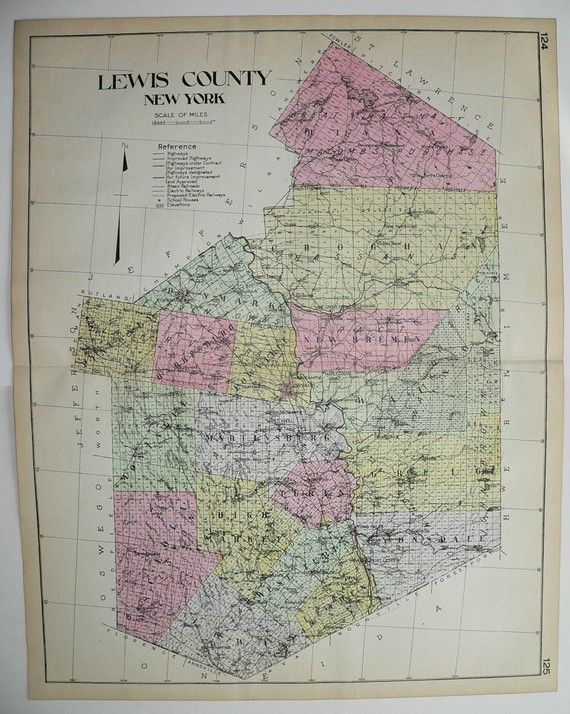 Lewis County NY Map New York County Large Map Original - Historical wall maps