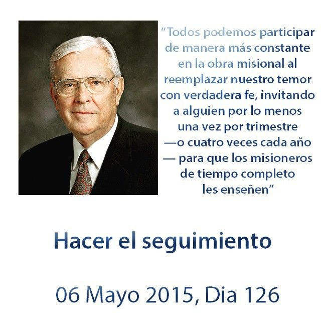 """El desafío de hoy es un discurso dado por el Elder M. Russell Ballard en la conferencia general de abril del 2014 Hacer el seguimiento, M. Russell Ballard La pregunta del dia de hoy es: ¿de que manera el """"hacer seguimiento"""" puede ser una bendición para la iglesia y para tu vida?"""
