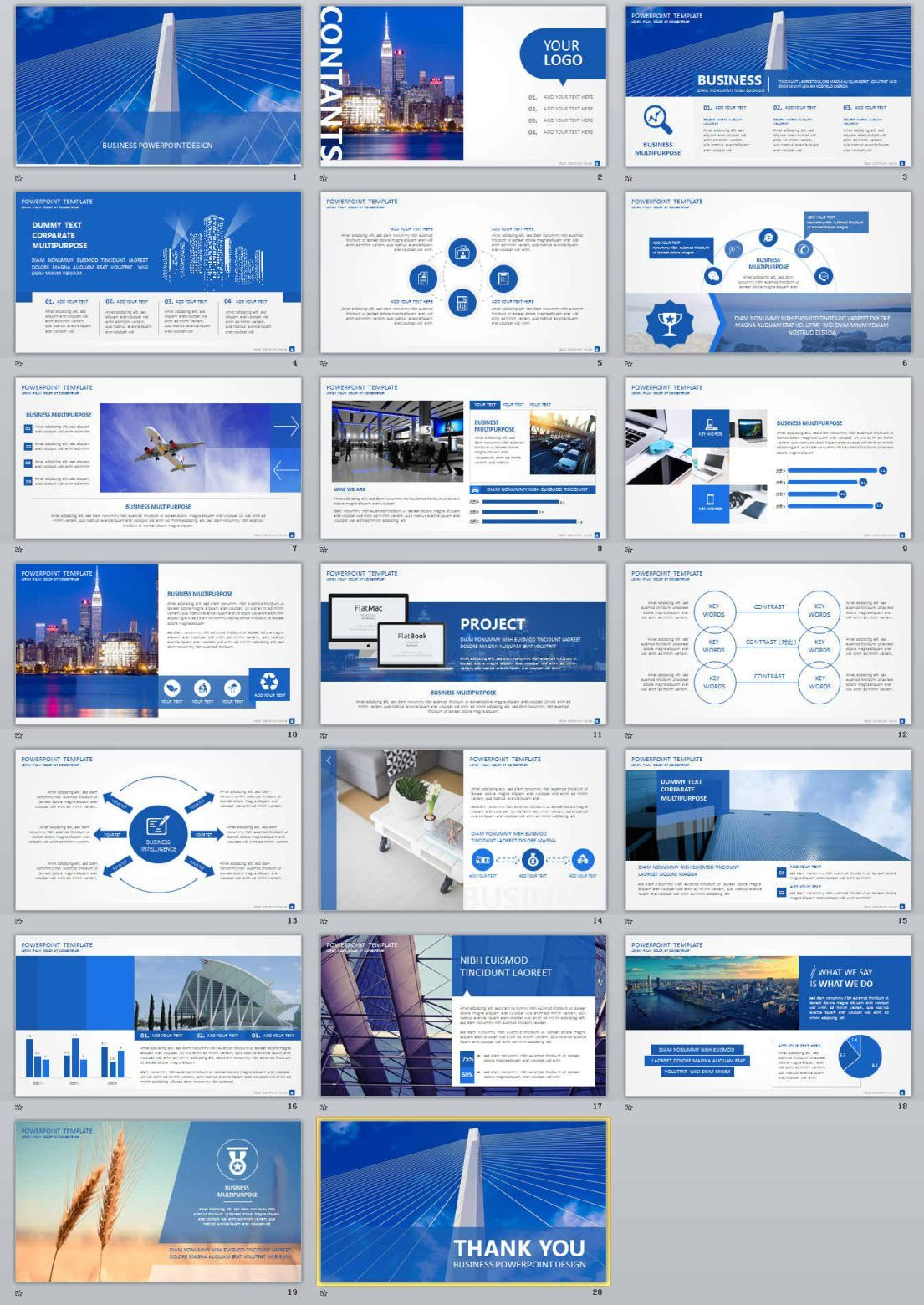 20+ Blue Business report Powerpoint Templates