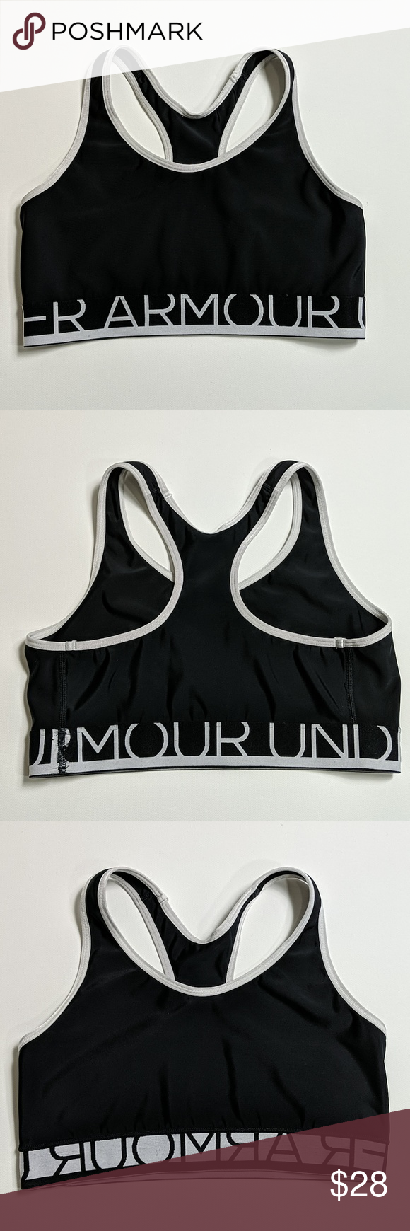 Under Armour Still Gotta Have It in black EUC UA sports bra in black with white trim. Tags removed. Designed for seamless comfort to reduce irritation and wide elastic for good support.  Chest 13 Length 11.5 Fits like a small  238 Under Armour Intimates & Sleepwear Bras #gottahaveit