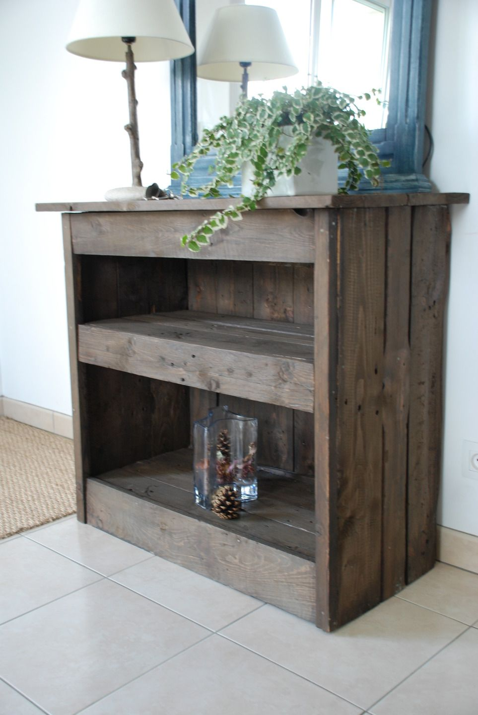 meuble d entree fait en bois de palettes meubles et rangements par atelier quatrecoeurs