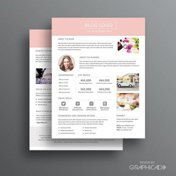 Page Media Kit Template   Ad Rate Sheet Template  Press Kit