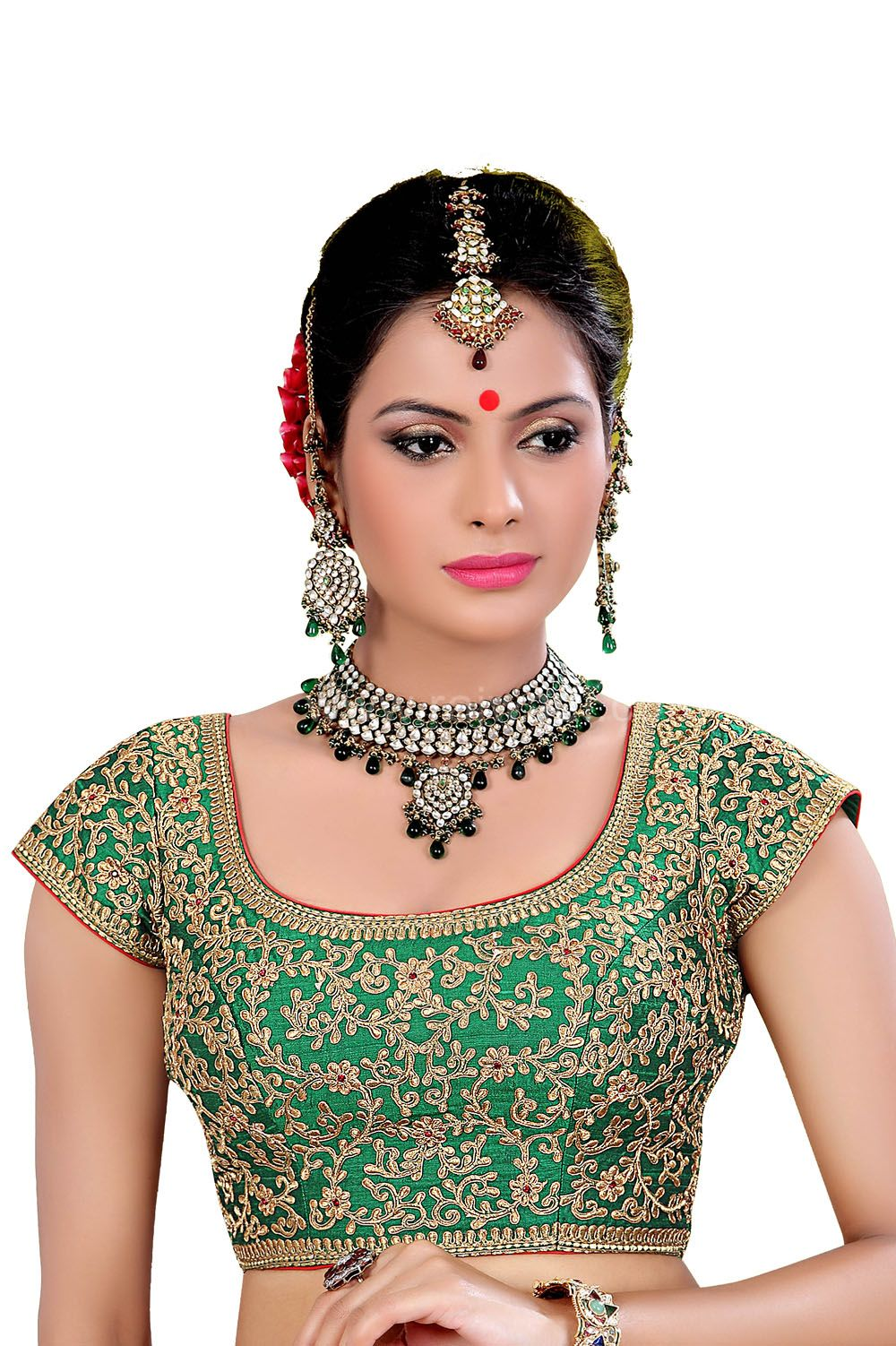 fcbba39e523f8b Wonderful Green Coloured Ready Choli | Piękne sari i biżuteria ...