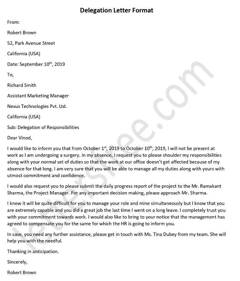 Delegation Letter Sample Delegation Letter Template Format