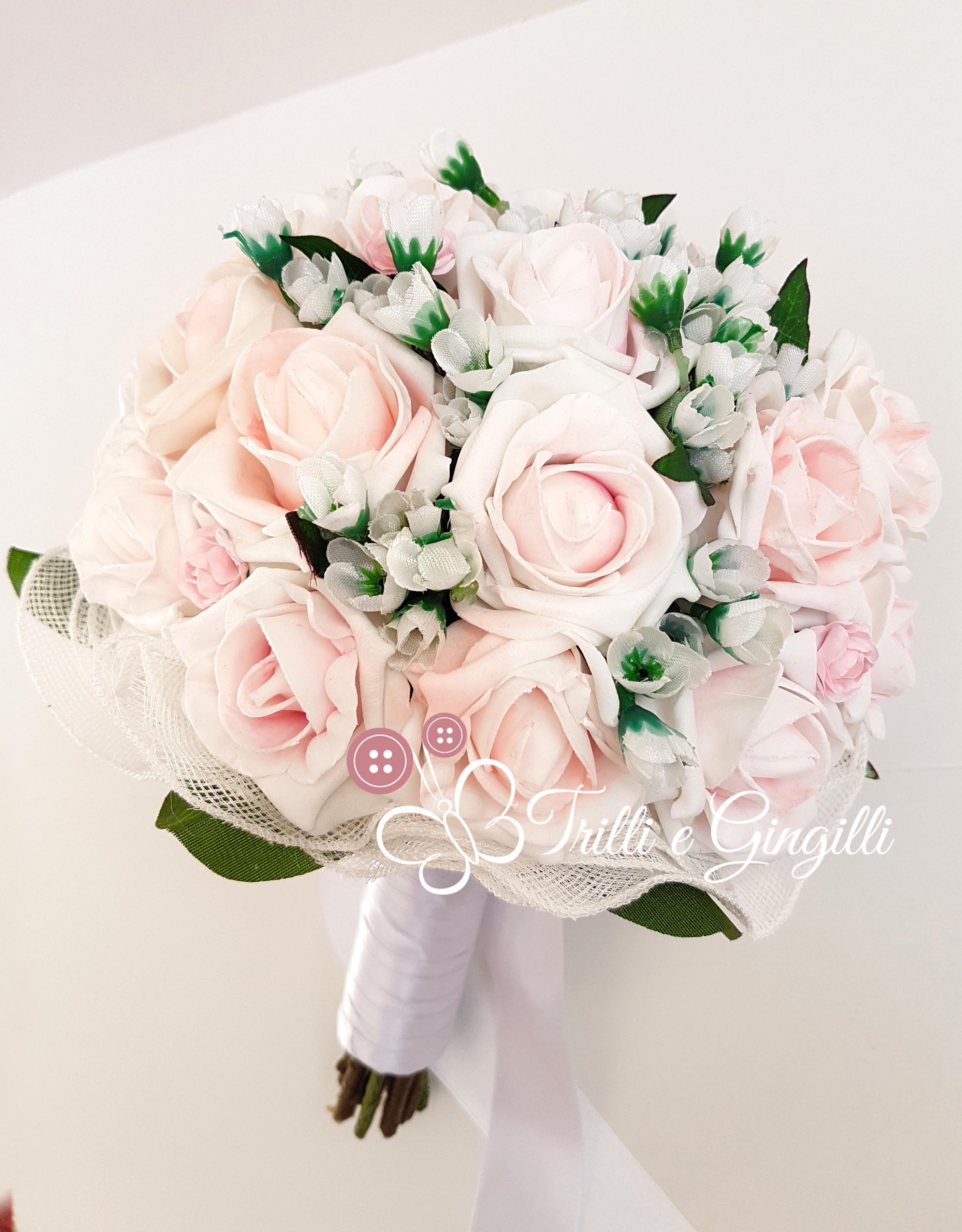 Bouquet Sposa Rose Rosa.Bouquet Sposa Di Fiori Finti Con Rose Rosa Personalizzabile Con