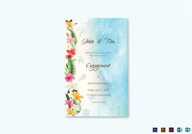Beach Engagement Announcement Card Template   Pinterest