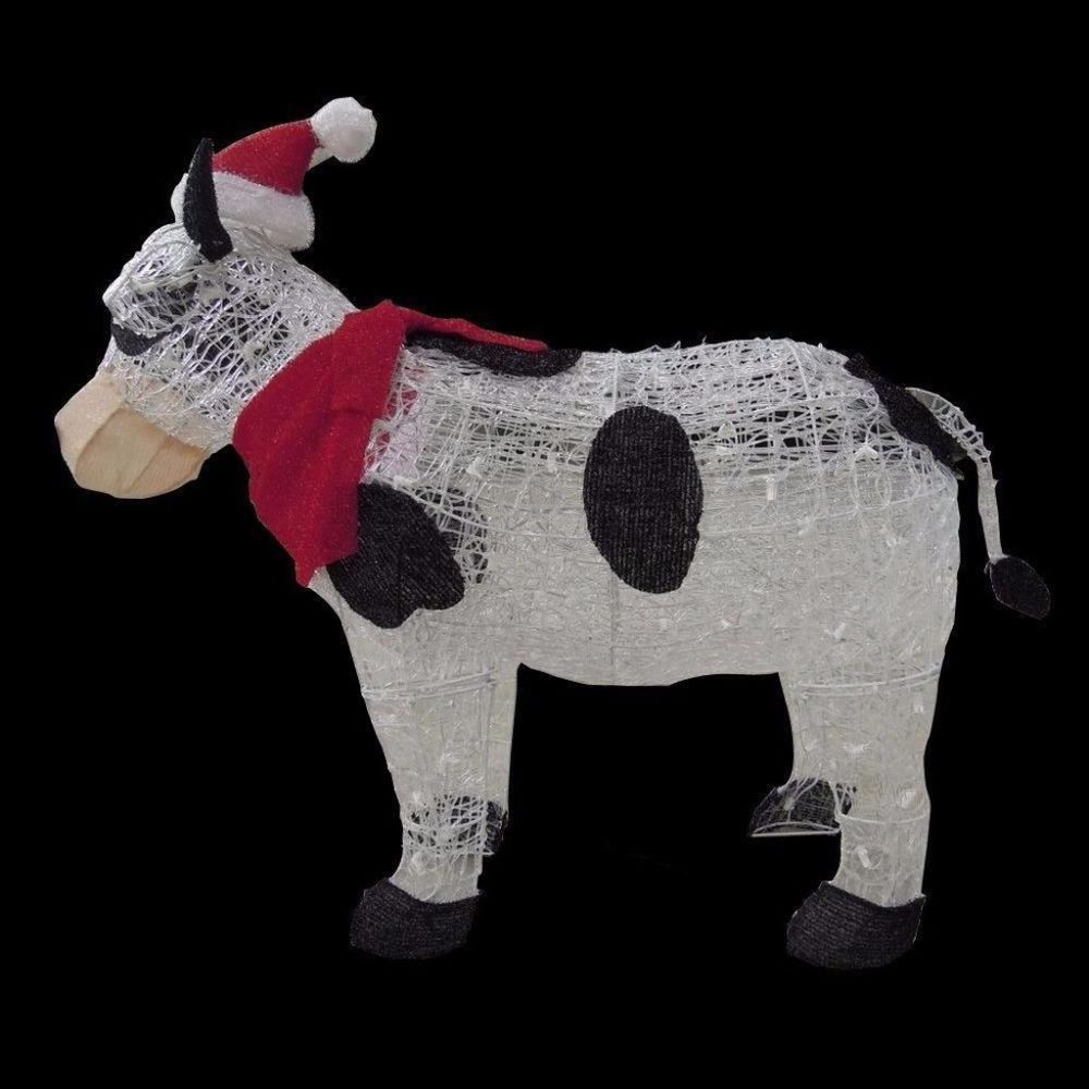 Pre-Lit Tinsel Cow with Santa Hat Sparkling Lights Christmas Yard ...
