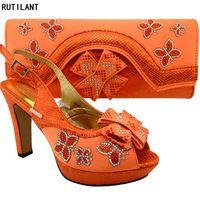 Italiano De Zapatos Señoras Naranja Bolsa Color Y Cuero Zapato 14dqwv