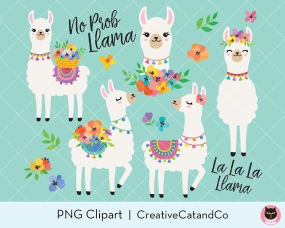 Niedliche Lamas mit Frühlingsblumen Clipart, Frühling Alpaka Lama Illustration Clipar …   – Products