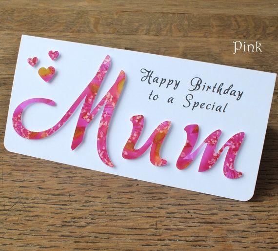 Handmade Mum Birthday Card Personalized Happy By Cardsbygaynor