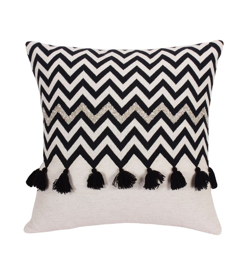 Vista Black Cotton 16 X Inch Cushion Cover Online Geometric Patterns Covers Pepperfry