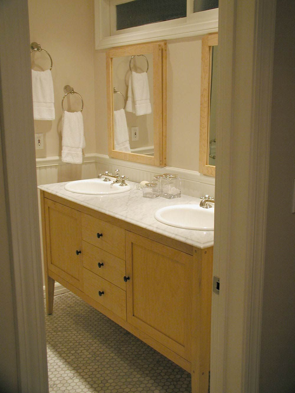 Delightful Maple Vanity With Light Sink. Like The Framed Mirrors And Wainscoting.  Harvest Maple Bathroom Great Pictures