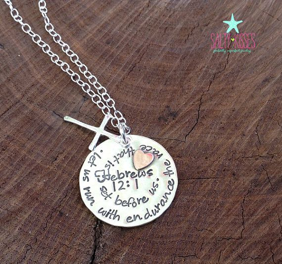 Sterling silver personalized hand stamped round disc tag necklace circular spiral wording verse christian God family anniversary jewelry