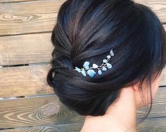 Butterfly head piece opal blue hair accessory beach bridal hair Vine delicate wedding photo prop bridal crown butterfly
